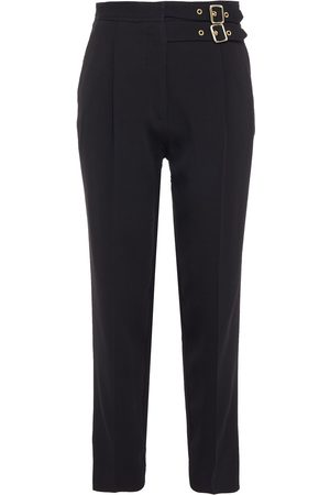 Sandro Woman Danna Cropped Buckle-detailed Crepe Slim-leg Pants Size 34