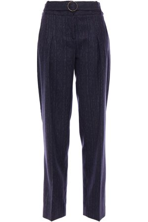 Victoria Victoria Beckham Women Trousers - Woman Belted Pinstriped Wool-blend Twill Tapered Pants Navy Size 10