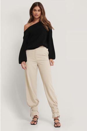 NA-KD Women Trousers - High Waist Tie Suit Pants - Beige