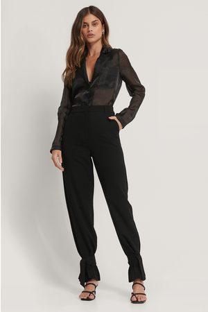 NA-KD High Waist Tie Suit Pants - Black
