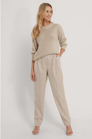 The Fashion Fraction x NA-KD Pleat Detail Suit Pants - Beige,Multicolor