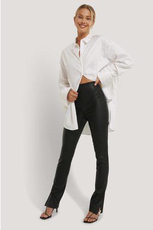 NA-KD Women Leggings - PU Side Slit Leggings - Black