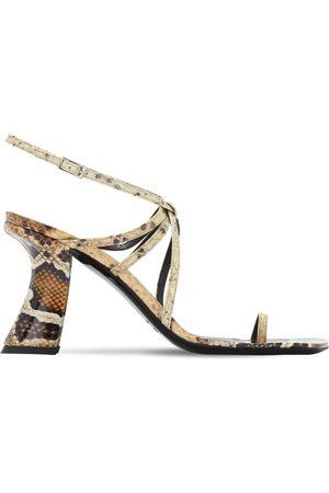 By Far 95mm Elsa Snake Print Leather Sandals