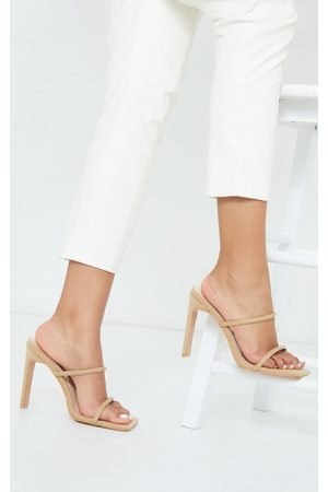 PRETTYLITTLETHING Nude Lycra Extreme Square Toe Twin Strap Mule High Heels
