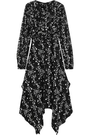 MIKAEL AGHAL Woman Asymmetric Belted Floral-print Crepe De Chine Midi Dress Size 10