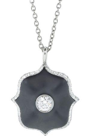 BAYCO Platinum round diamond and black ceramic lotus necklace - Metallic