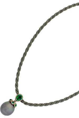 INBAR 18kt rose gold, emerald, diamond and pearl necklace
