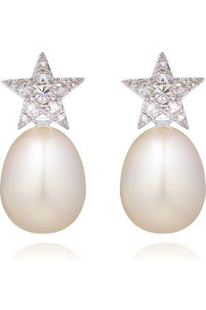ANNOUSHKA 18kt diamond pearl star earrings - 18ct
