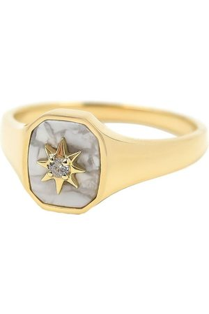 BONDEYE JEWELRY 14kt gold diamond Josie signet ring - YLWGOLD