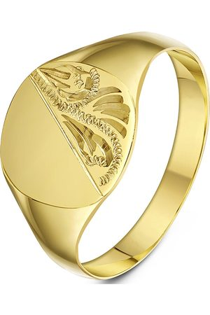 Love GOLD 9Ct Yellow Gold Cushion Shape Patterned Signet Band