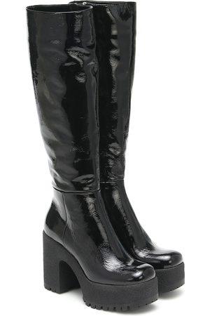 Miu Miu Women High Leg Boots - Leather platform knee-high boots