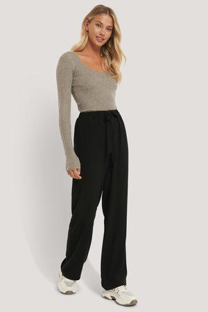 NA-KD Tie Belt Wide Leg Pants - Black