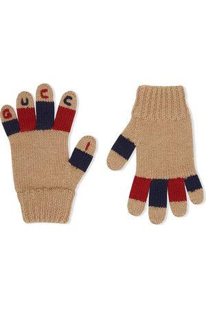 Gucci Logo-embroidered gloves - Neutrals