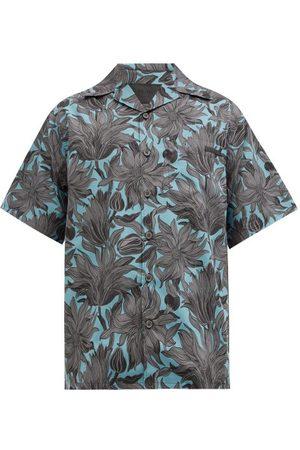 Prada Cuban-collar Floral-print Cotton-poplin Shirt - Mens