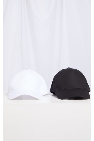 PRETTYLITTLETHING Women Caps - Black and White Two Pack Baseball Cap