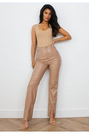 Missguided Women Trousers - Mocha Faux Leather Split Front Trousers