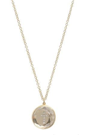 Noush 14kt yellow Hidden Treasure diamond cross quartz necklace