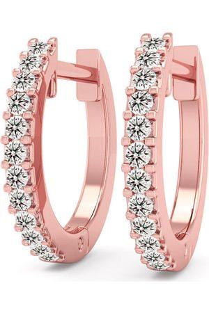 SuperJeweler 1/8 Carat Diamond Men's Hoop Earrings in 14K Rose (1.90 g), K/L