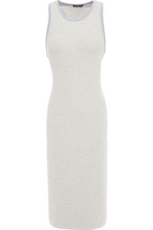 James Perse Woman Ribbed Cotton-blend Dress Stone Size 0