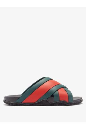 Gucci Web-stripe Rubber Slides - Mens - Multi