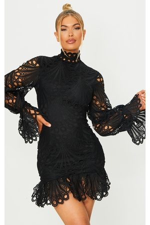 PrettyLittleThing High Neck Lace Long Sleeve Frill Bodycon Dress