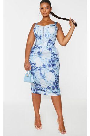 PRETTYLITTLETHING Plus Tie Dye Corset Detail Midi Dress