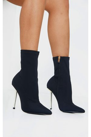 PRETTYLITTLETHING Woven Metal Heeled Boots