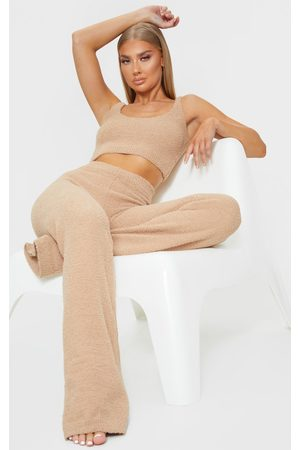 PRETTYLITTLETHING Taupe Chenille High Waist Trouser