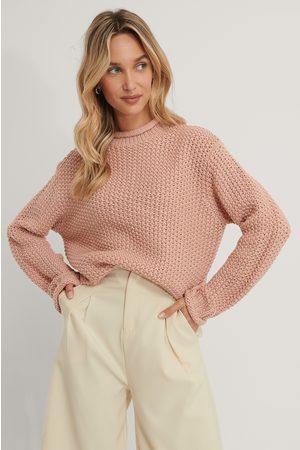 NA-KD Waffle Knit High Neck Sweater - Pink