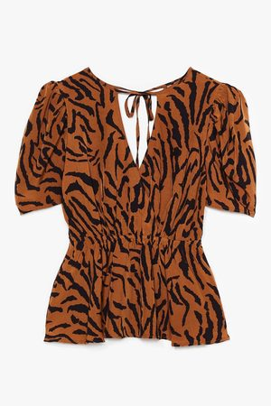 NASTY GAL Women Blouses - Womens Only Got Eyes For You Plus Tiger Puff Sleeve Blouse - - 16