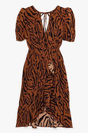 NASTY GAL Women Midi Dresses - Womens Easy Tiger Plus Wrap Midi Dress - - 16