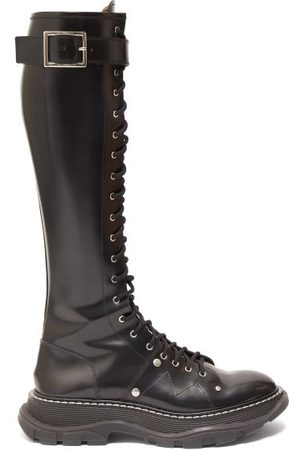 Alexander McQueen Women High Leg Boots - Tread Exaggerated-sole Leather Knee-high Boots - Womens