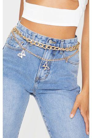 PRETTYLITTLETHING Gold Diamante Butterfly Chain Belt