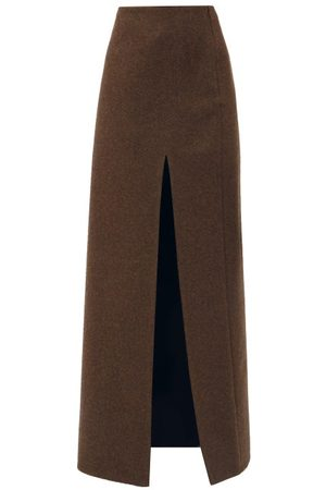 Miu Miu Front-slit Felted-wool Maxi Skirt - Womens