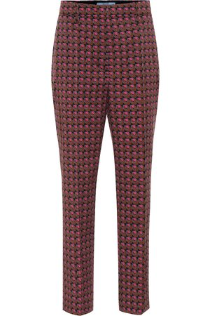 Prada Printed high-rise wool-blend pants