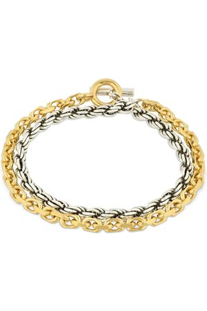 Bottega Veneta Two Tone Braided & Chain Bracelet