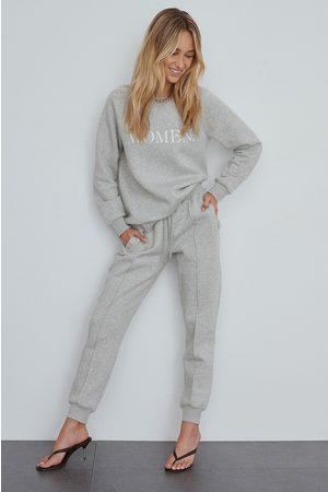 NA-KD Women Trousers - Basic Sweatpants - Grey