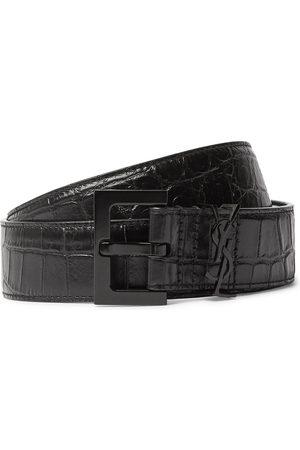 Saint Laurent Men Belts - Croc-Effect Leather Belt
