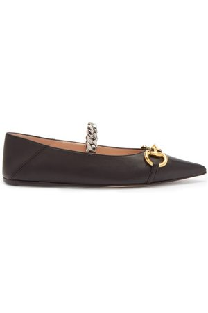 Gucci Deva Horsebit And Chain-embellished Leather Flats - Womens