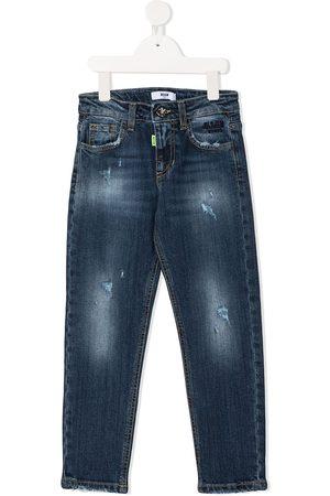 MSGM Kids Boys Straight - Logo straight-leg jeans