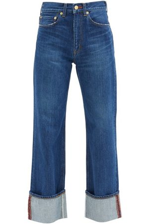 TU ES MON TRESOR Women Trousers - Carnelian High-rise Turn-up Jeans - Womens - Dark Denim