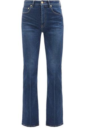 TU ES MON TRESOR Amethyst High-rise Flared-leg Jeans - Womens - Dark Denim