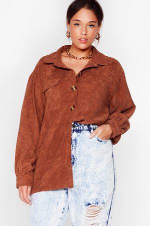 NASTY GAL Women T-shirts - Womens Plus Size Oversized Cord Shirt - - 16