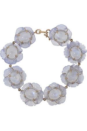 Irene Neuwirth 18kt rose gold carved chalcedony and diamond flower bracelet