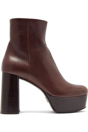 Prada Leather Platform Ankle Boots - Womens - Dark