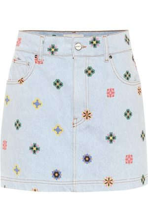 Kirin Printed high-rise denim miniskirt