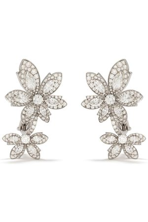 David Morris 18kt Palm Double Flower diamond earrings