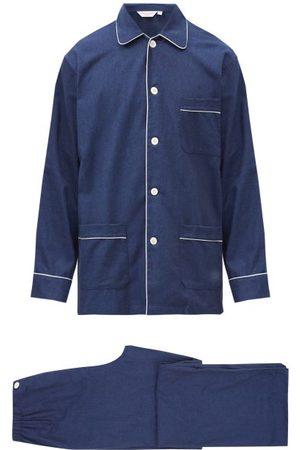 DEREK ROSE Balmoral Brushed-cotton Pyjama Set - Mens - Navy