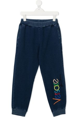 Versace Kids Embroidered logo track trousers