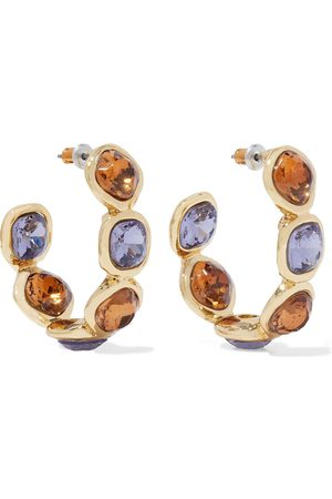 Kenneth Jay Lane Woman 22-karat -plated Crystal Hoop Earrings Size